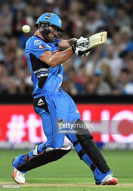 Michael Neser of the Adelaide Strikers bats during the Big Bash League Semi Final match between the Adelaide Strikers and the Sydney Thunder at...