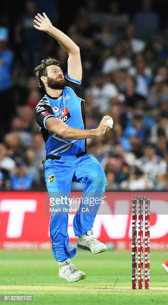 Michael Neser of the Adelaide Strikers celebrates after taking the wicket of Cameron White of the Melbourne Renegades during the Big Bash League...