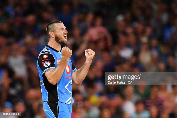 Michael Neser of the Adelaide Strikers celebrates during the Big Bash league match between the Adelaide Strikers and the Melbourne Stars at Adelaide...