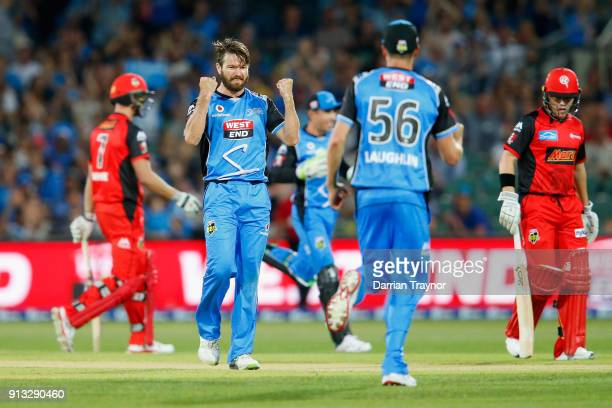 Michael Neser of the Adelaide Strikers celebrates the wicket of Cameron White of the Melbourne Renegades during the Big Bash League match between the...