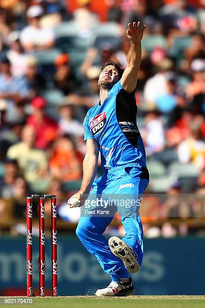 Michael Neser of the Strikers bowls during the Big Bash League match between Perth Scorchers and Adelaide Strikers at WACA on December 21 2015 in...