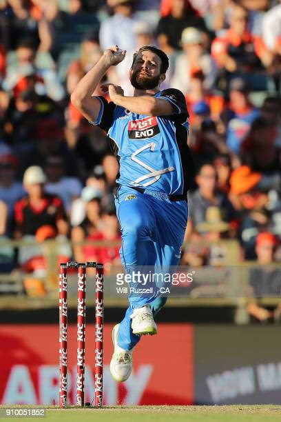 Michael Neser of the Strikers bowls during the Big Bash League match between the Perth Scorchers and the Adelaide Strikers at WACA on January 25 2018...