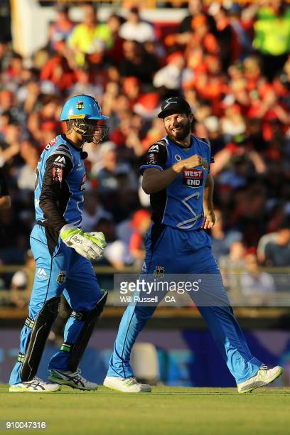 Michael Neser of the Strikers celebrates after taking the wicket of Hilton Cartwright of the Scorchers during the Big Bash League match between the...