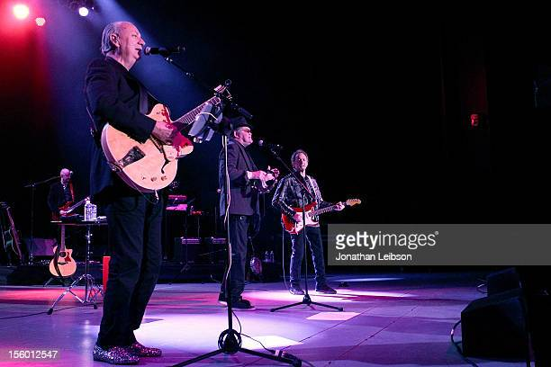 Michael Nesmith Micky Dolenz and Peter Tork of the band The Monkees perform in concert at The Greek Theatre on November 10 2012 in Los Angeles...