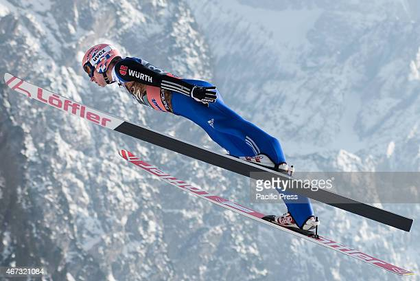 Michael Neumayer of Germany competes during FIS World Cup Planica Flying Hill Individual Ski Jumping. Ski jumping is a form of nordic skiing in which...