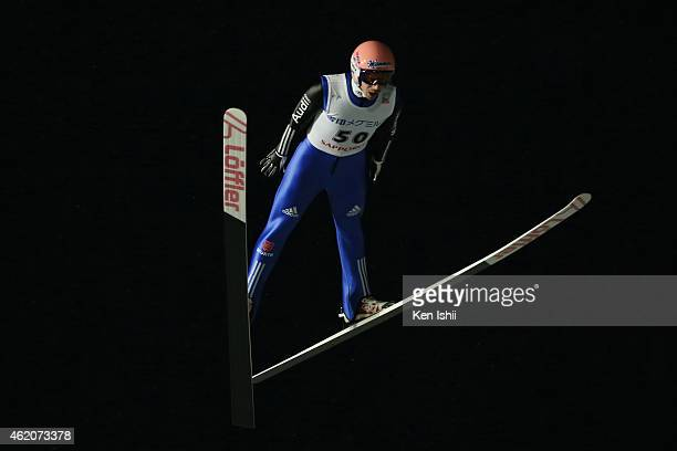 Michael Neumayer of Germany competes in the first round in the Large Hill Individual during the day one of FIS Men's Ski Jumping World Cup Sapporo at...