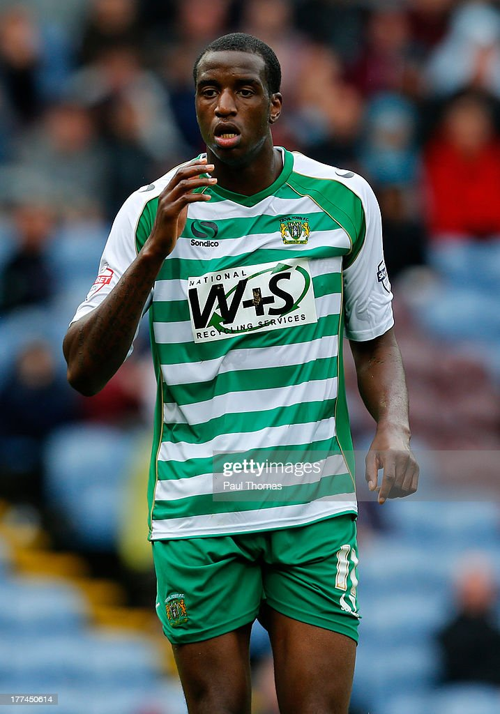 Michael Ngoo of Yeovil in action during the Sky Bet Championship match between Burnley and Yeovil Town at Turf Moor on August 17, 2013 in Burnley, England
