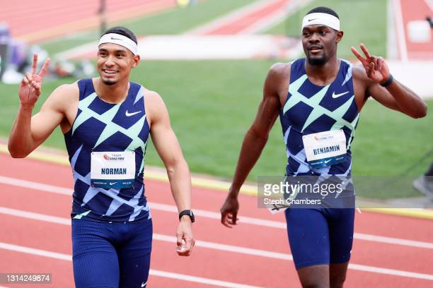 Michael Norman and Rai Benjamin react after the 400 meter final during the USATF Grand Prix at Hayward Field on April 24, 2021 in Eugene, Oregon.