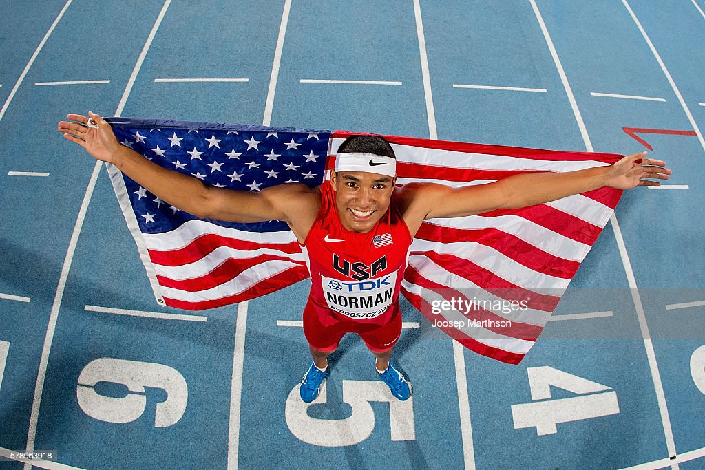 Michael Norman from USA celebrates winning a gold medal in men's 200 metres during the IAAF World U20 Championships at the Zawisza Stadium on July 22, 2016 in Bydgoszcz, Poland.