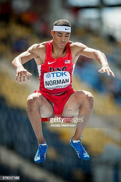 Michael Norman from USA competes in men's 200 metres during the IAAF World U20 Championships at the Zawisza Stadium on July 21 2016 in Bydgoszcz...