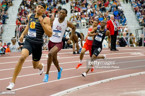 Michael Norman of the University of Southern California leads the field in the 400 meter dash during the Division I Men'u2019s and Women'u2019s...