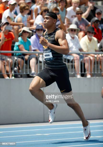 Michael Norman runs in the semifinal of the Mens 200 Meter during day 4 of the 2018 USATF Outdoor Championships at Drake Stadium on June 24 2018 in...