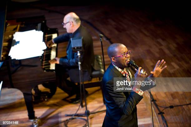 Michael Nyman and David McAlmont perform on stage at Palau De La Musica on February 24 2010 in Barcelona Spain