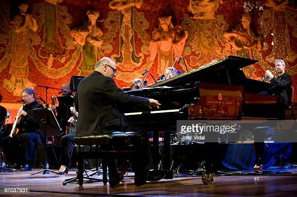 Michael Nyman perform on stage at Palau De La Musica on February 24 2010 in Barcelona Spain