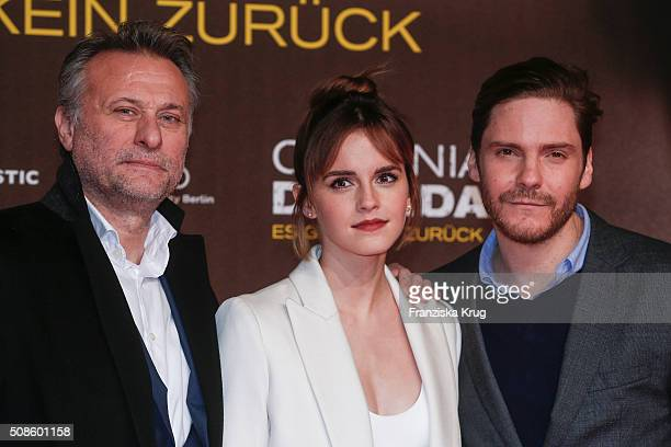 Michael Nyqvist Emma Watson and Daniel Bruehl attend the 'Colonia Dignidad Es gibt kein zurueck' Berlin Premiere on February 5 2016 in Berlin Germany