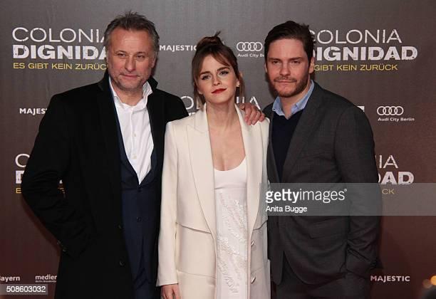 Michael Nyqvist Emma Watson and Daniel Bruehl attend the 'Colonia Dignidad Es gibt kein zurueck' Berlin premiere at CineStar on February 5 2016 in...