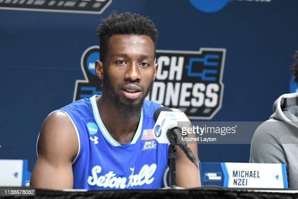 Michael Nzei of the Seton Hall Pirates addresses the media after the First Round of the NCAA Basketball Tournament against the Wofford Terriors at...