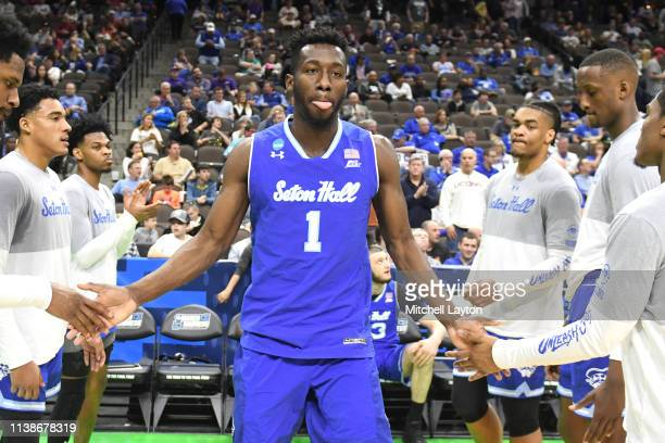 Michael Nzei of the Seton Hall Pirates is introduced before the First Round of the NCAA Basketball Tournament against the Wofford Terriors at the...