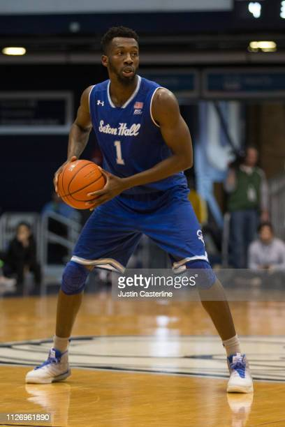 Michael Nzel of the Seton Hall Pirates in action in the game against the Butler Bulldogs during the second half at Hinkle Fieldhouse on February 02...