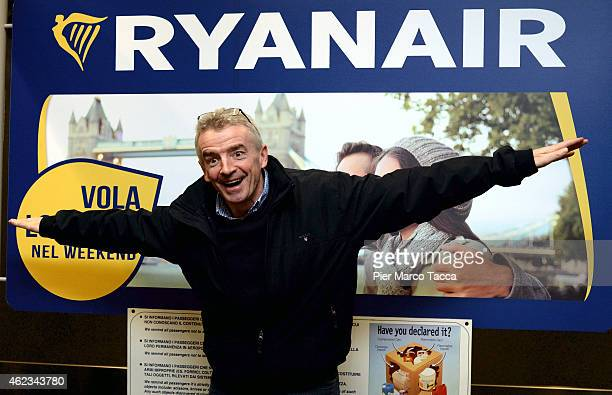 Michael O' Leary CEO of Ryanair poses for a photograph at the end of a Ryanair press conference on January 27 2015 in Bergamo Italy Over the past 5...