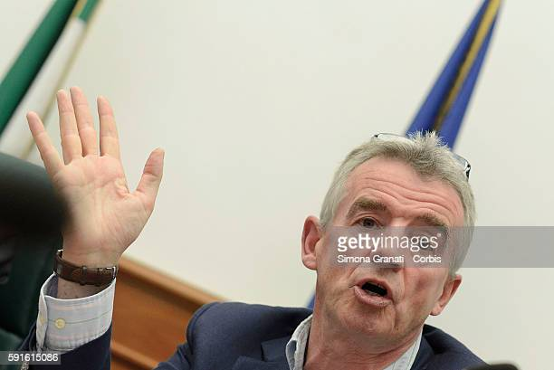 Michael O 'Leary chief executive of Ryanair at a press conference to explain the plan of development of Ryanair in 2017 in Italy as a result of...