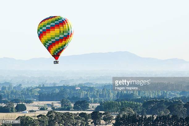 Michael Oakley of New Zealand flies his hot air balloon over Wairarapa to launch the 2016 Wairarapa Balloon Festival on February 26 2016 in Carterton...