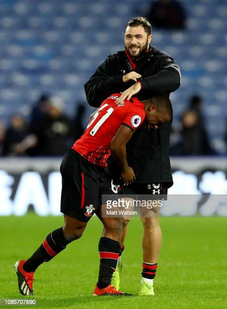 Michael Obafemi and Charlie Austin of Southampton during the Premier League match between Huddersfield Town and Southampton FC at John Smith's...