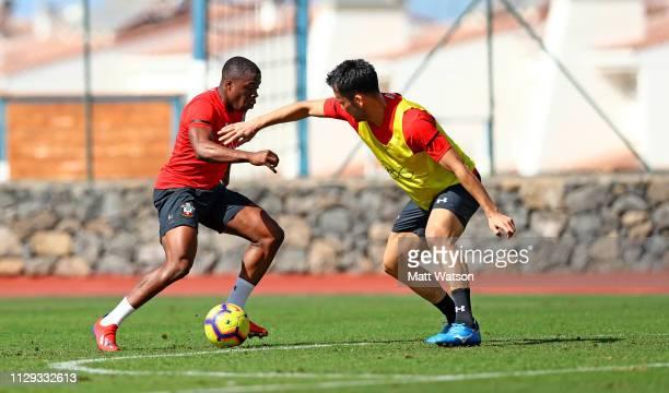 Michael Obafemi and Maya Yoshida on day 2 of Southampton FC's winter training Camp on February 12 2019 in Tenerife Spain