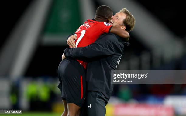 Michael Obafemi and Ralph Hasenhuttl of Southampton during the Premier League match between Huddersfield Town and Southampton FC at John Smith's...