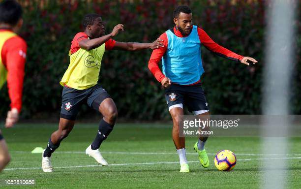 Michael Obafemi and Ryan Bertrand during a Southampton FC training session at the Staplewood Campus on October 23 2018 in Southampton United Kingdom