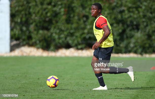 Michael Obafemi during a Southampton FC training session at the Staplewood Campus on October 23 2018 in Southampton United Kingdom