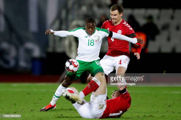 Michael Obafemi of Republic of Ireland Andreas Bjelland of Denmark during the UEFA Nations league match between Denmark v Republic of Ireland at the...