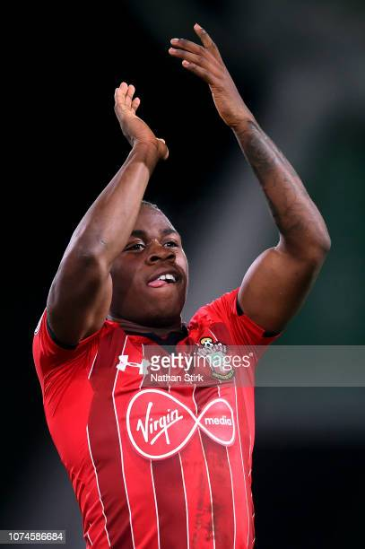 Michael Obafemi of Southampton acknowledges the fans after the Premier League match between Huddersfield Town and Southampton FC at John Smith's...