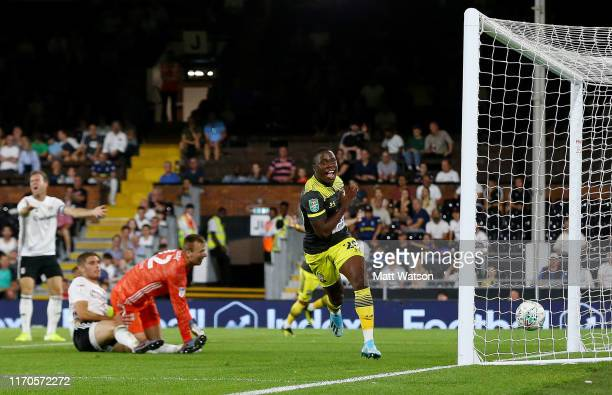 Michael Obafemi of Southampton celebrates after opening the scoring during the Carabao Cup second round match between Fulham and Southampton FC at...