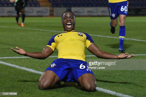 Michael Obafemi of Southampton celebrates after scoring his team's second goal during the Checkatrade Trophy match between Colchester United and...