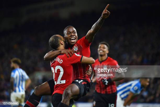 Michael Obafemi of Southampton celebrates after scoring his team's third goal with Nathan Redmond of Southampton during the Premier League match...
