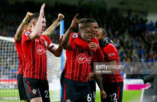 Michael Obafemi of Southampton celebrates during the Premier League match between Huddersfield Town and Southampton FC at John Smith's Stadium on...