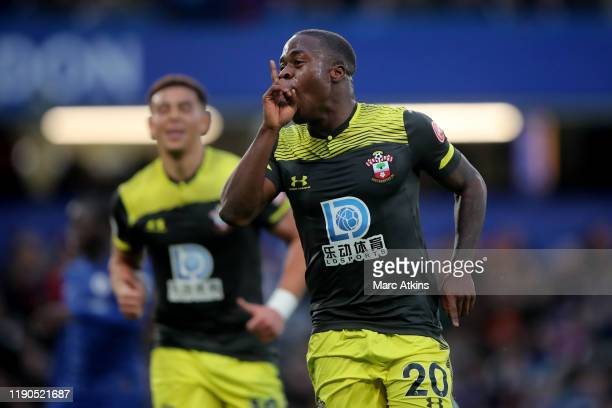 Michael Obafemi of Southampton celebrates his goal during the Premier League match between Chelsea FC and Southampton FC at Stamford Bridge on...