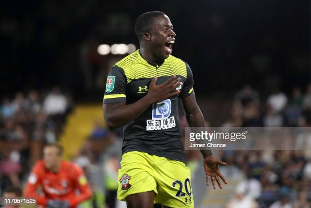 Michael Obafemi of Southampton celebrates scoring his team's first goal during the Carabao Cup Second Round match between Fulham and Southampton at...