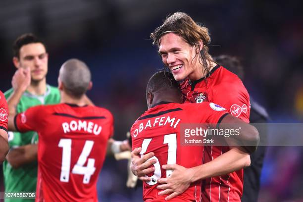 Michael Obafemi of Southampton celebrates victory with Jannik Vestergaard of Southampton after the Premier League match between Huddersfield Town and...