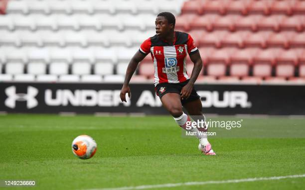 Michael Obafemi of Southampton during a friendly match between Southampton FC and Bristol City ahead of the Premier League restart at St Mary's...