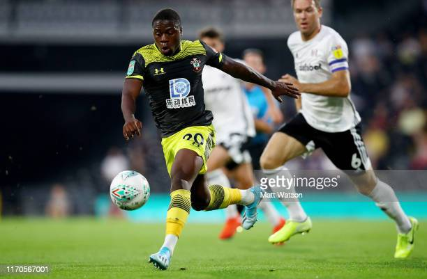 Michael Obafemi of Southampton during the Carabao Cup second round match between Fulham and Southampton FC at Craven Cottage on August 27 2019 in...