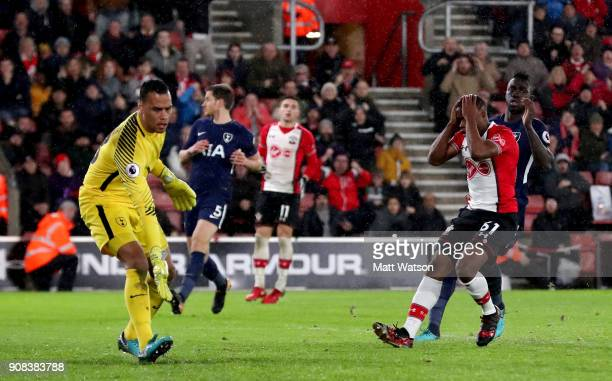 Michael Obafemi of Southampton FC after a missed opportunity during the Premier League match between Southampton and Tottenham Hotspur at St Mary's...