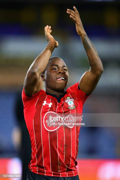 Michael Obafemi of Southampton FC applauds the crowd after the Premier League match between Huddersfield Town and Southampton FC at John Smith's...