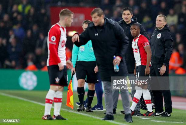 Michael Obafemi of Southampton FC comes on to make his Premier League debut during the Premier League match between Southampton and Tottenham Hotspur...