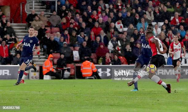 Michael Obafemi of Southampton FC misses an opportunity during the Premier League match between Southampton and Tottenham Hotspur at St Mary's...