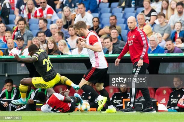 Michael Obafemi of Southampton FC Ridgeciano Haps of Feyenoord JanArie van der Heijden of Feyenoord coach Jaap Stam of Feyenoord during the Preseason...