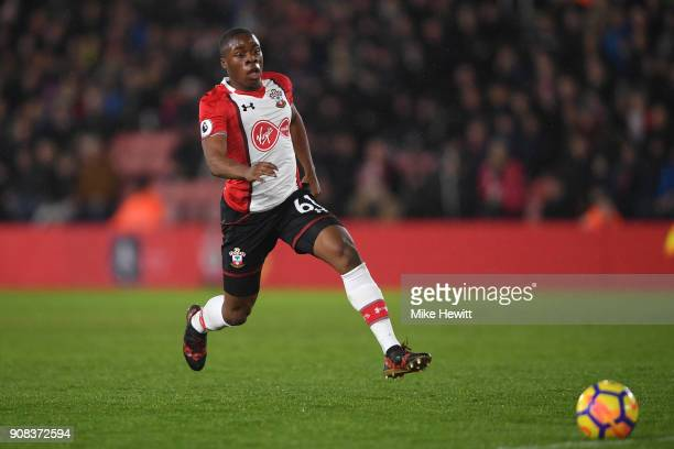 Michael Obafemi of Southampton in action during the Premier League match between Southampton and Tottenham Hotspur at St Mary's Stadium on January 21...