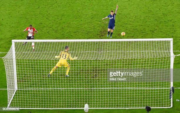 Michael Obafemi of Southampton misses a chance as Michel Vorm and Kieran Trippier of Tottenham Hotspur look on during the Premier League match...