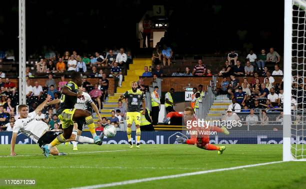 Michael Obafemi of Southampton opens the scoring during the Carabao Cup second round match between Fulham and Southampton FC at Craven Cottage on...